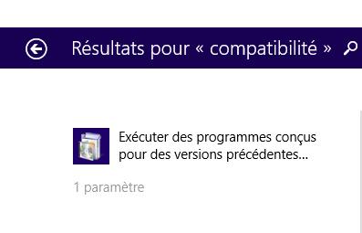 programmes conçus pour les versions précédentes de Windows