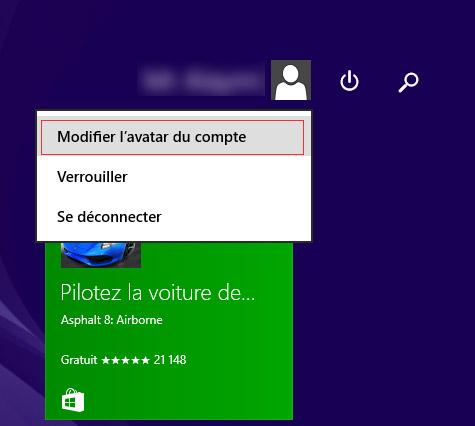 Modifier l'avatar du compte windows 8.1