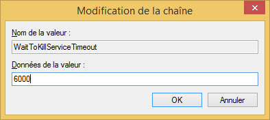 Modification de la chaîne : registre windows 8