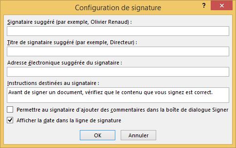 Configuration de signature