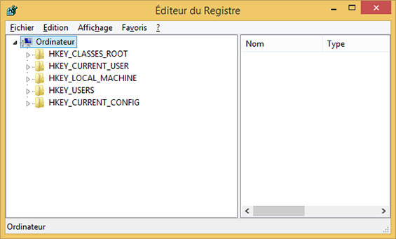 éditeur de registre windows 8