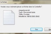 Comment désactiver boîte de dialogue de confirmation de suppression dans Windows 7?