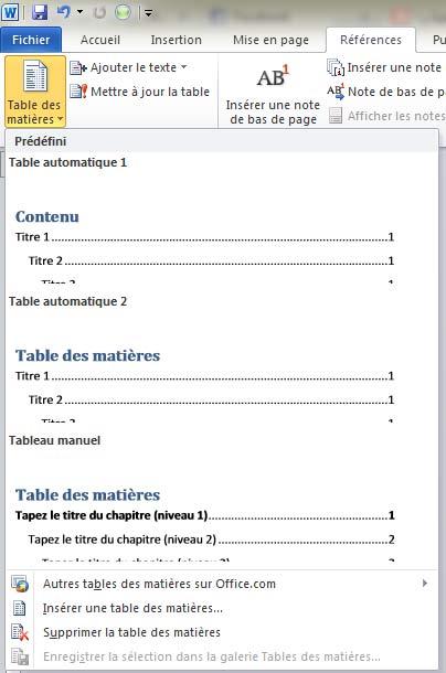 table des matières predefini