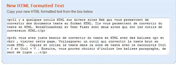 texte converti html