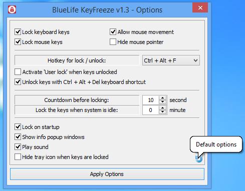 Bluelife KeyFreeze pour verrouiller le clavier et la souris