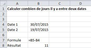 calcule date excel