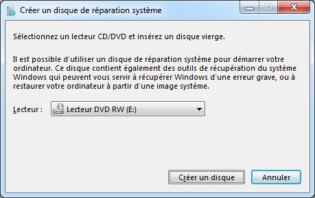 disque de réparation système