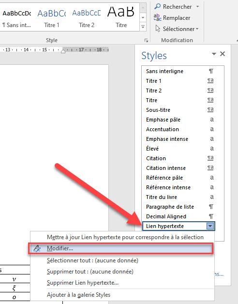 modifier couleur lien hypertexte word
