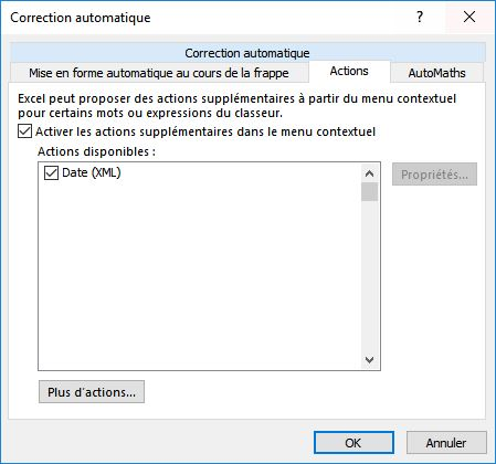 Actions de correction automatique excel