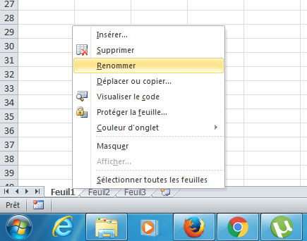 Renommez feuille Excel