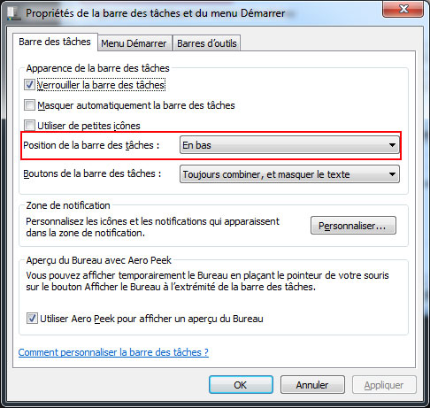 barres des taches windows