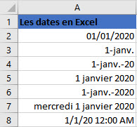 differents format dates en excel