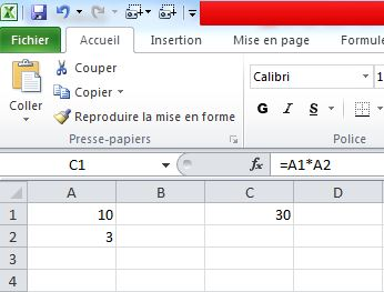 resultat multiplication EXCEL