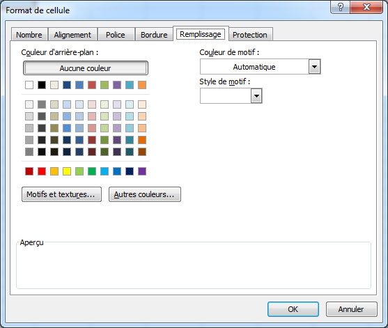 palette couleur excel