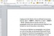 Déplacer un paragraphe de haut en bas avec le clavier