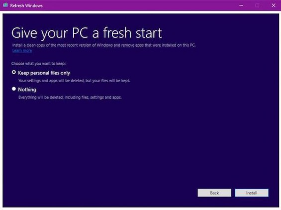 microsoft refresh windows tool