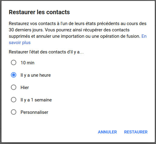 Restaurer contacts Android à l'aide de Gmail