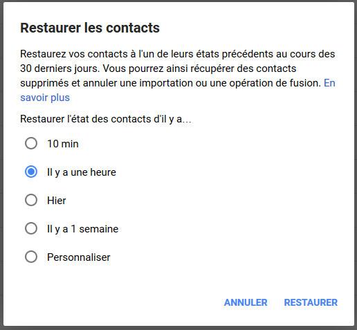 Restaurer contacts Android à l'aide de Gmail