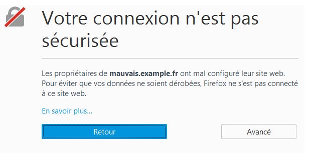 Votre connexion n'est pas sécurisée: Mozilla Firefox