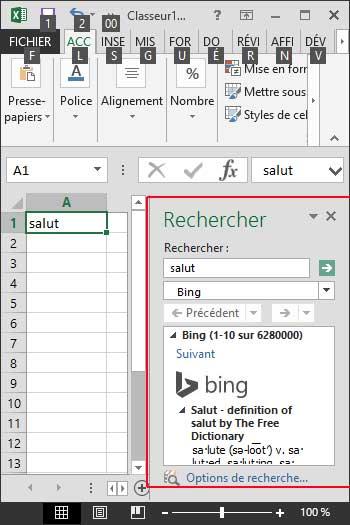 Touche ALT pour afficher Dictionnaire Excel