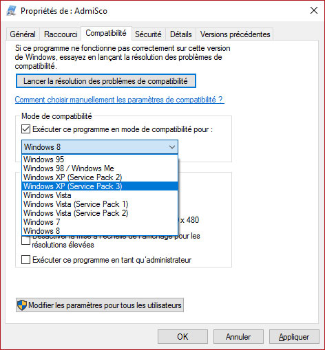 mode Compatibilité windows 10