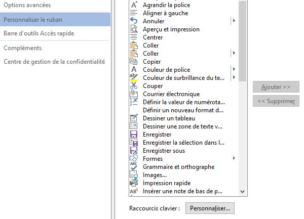 raccourcis clavier dans Word 2013