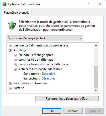 Activer la luminosité adaptative