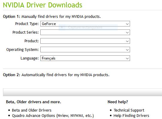Télécharger les pilotes NVIDIA pour windows