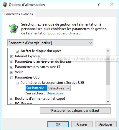Paramètre de suspension sélective USB