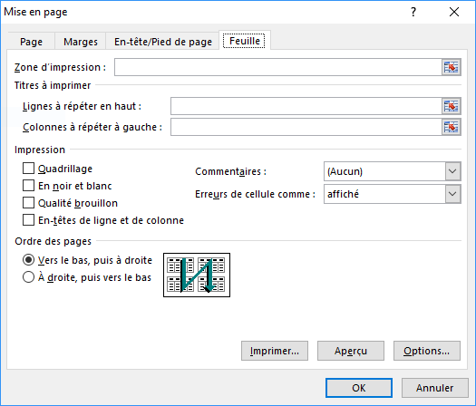 L'onglet Feuille de la boîte de dialogue Mise en page Excel