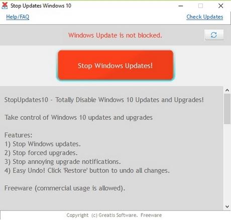Bloquer mises à jour Windows 10