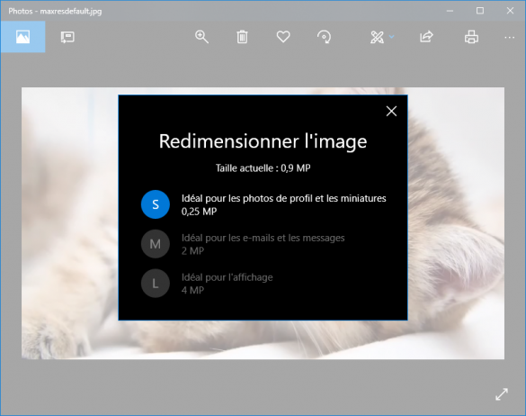 Redimensionner des images en utilisant l'application Photos
