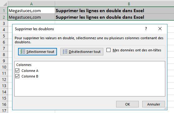 Supprimer les lignes en double dans Excel