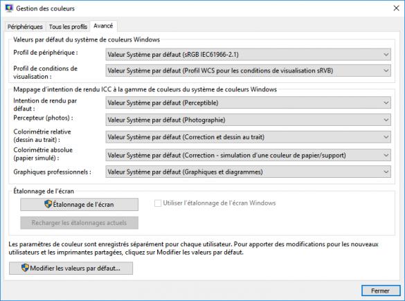 Comment restaurer les paramètres d'affichage de couleur par défaut dans Windows 10