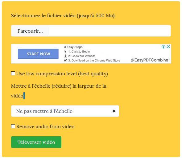 réduire taille vidéo en ligne