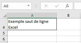 insérer un saut de ligne dans Excel