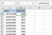 Comment extraire l'année d'une date dans Excel
