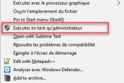 Exécuter en tant qu'administrateur ne fonctionne pas sous Windows 10