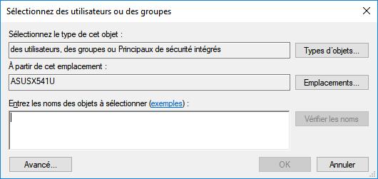 Sélectionner des utilisateurs ou des groupes