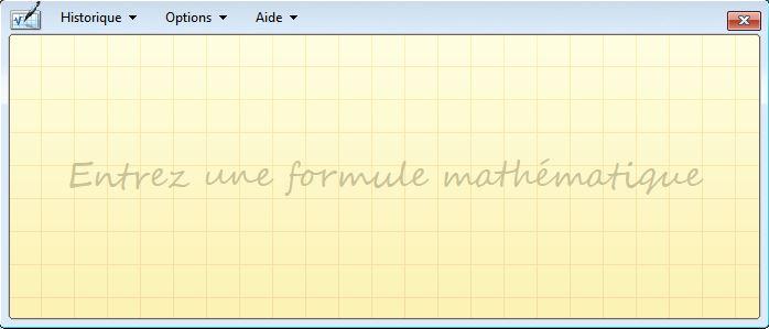 page d'accueil du Panneau de saisie mathématique