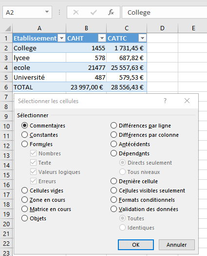 Fonction atteindre excel