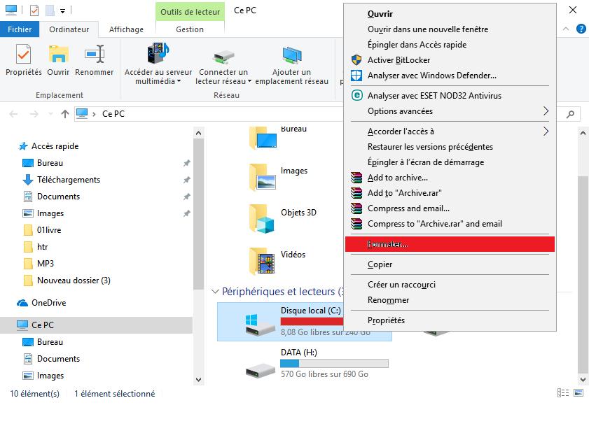 formater des partitions de disque dur dans Windows 10