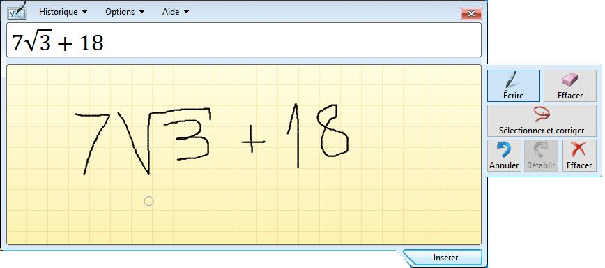 saisir une formule mathématique dans le panneau de saisie mathématique