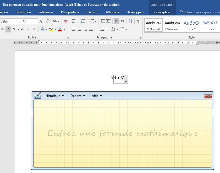 insérer une formule dans un document word