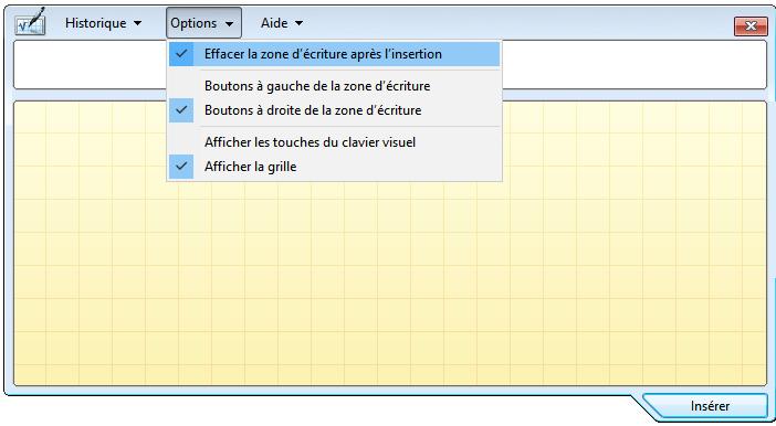 Configuration de l'outil Panneau de saisie mathématique windows 10