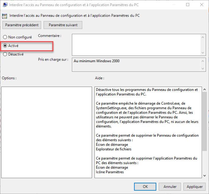 Interdire l'accès au Panneau de configuration et à l'application paramètre du PC