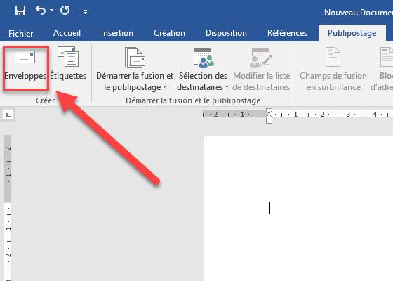 Créer une enveloppe à l'aide de Microsoft Word