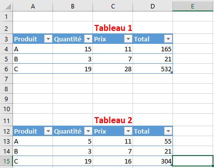 deux tableaux Excel