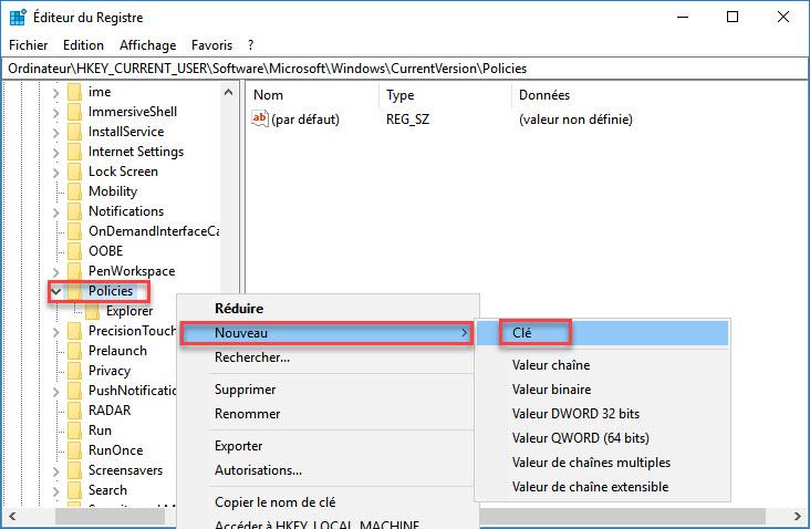 Nouveau clé base de registe windows 10