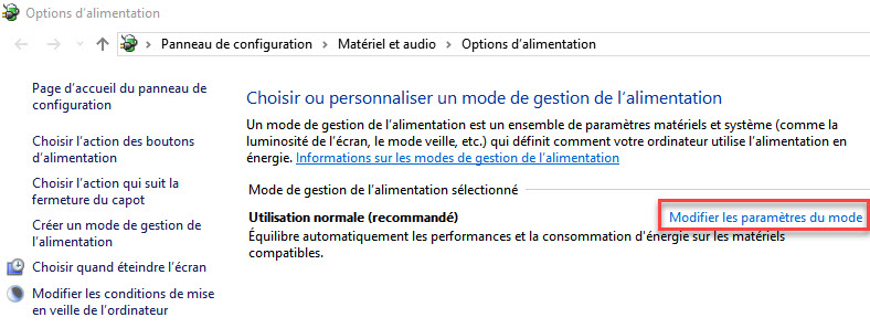 Options d'alimentation windows 10